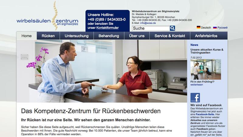 Website des Wirbelsäulenzentrums am Stiglmaierplatz