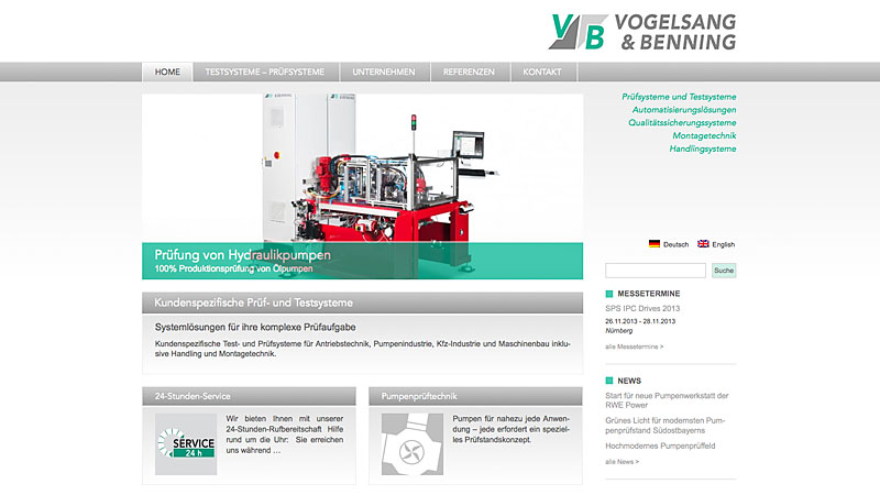 Website Vogelsang & Benning GmbH, Bochum