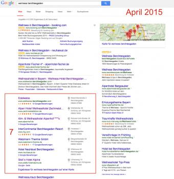 Layout der lokalen Suchergebnisse im April 2015
