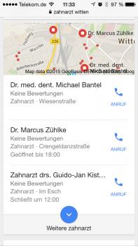 Layout der mobilen lokalen Suchergebnisse im August 2015