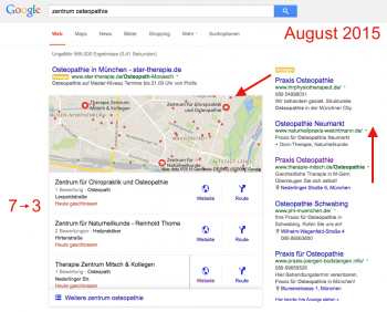 Layout der lokalen Suchergebnisse im August 2015