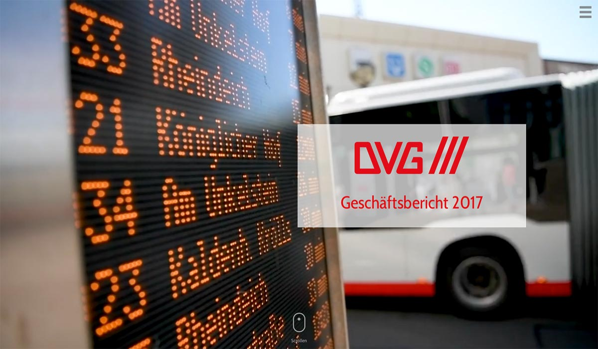Intro digitaler Geschäftsbericht 2017 der DVG