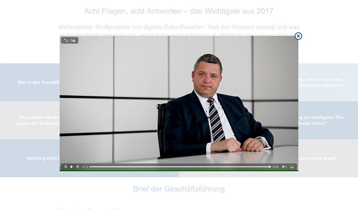 Interaktives Videointerview digitaler Geschäftsbericht 2017 der Stadtwerke Duisburg