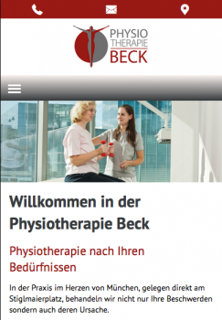 Mobile Ansicht der Website der Physiotherapie Beck mit 'mobile contact bar' zum einfachen anrufen, E-Mail-Versand und Anfahrtsbeschreibung über Google Maps