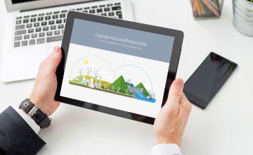 Digitaler Geschäftsbericht auf einem Tablet