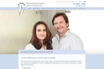 Website der zahnarztpraxis drs. Kisters 2017 – Startseite