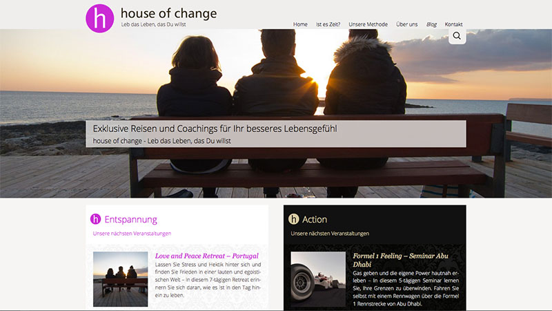 Website von 'house of change – Exclusive Coaching-Reisen'