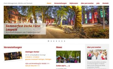 Website von pro>motion – Event-management, Märkte und Festivals