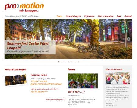 Website von pro>motion – Event-management, Märkte und Festivals