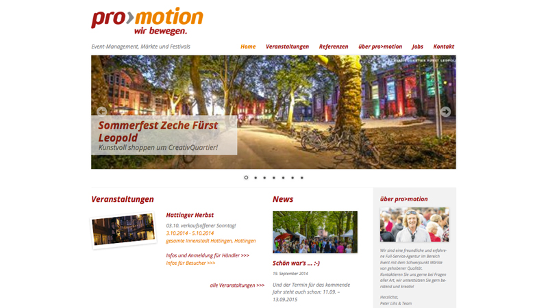 Website von pro-motion – Event-Management, Märkte und Festivals